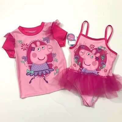 PEPPA PIG NWT 2T 3T 4T 5T Swimsuit One piece & Rash-guard Set PINK TUTU Swim