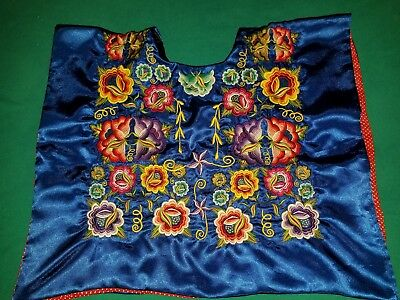 Floral Embroidered Tehuana Mexico Huipil Frida Kahlo Style