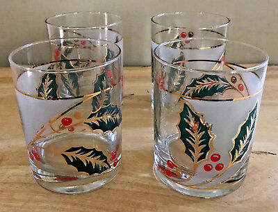 Lot of 4 Vintage Culver DOF 14 oz Glasses in Box Holly Leaves Berries Gold
