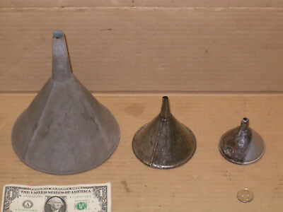 3 old vintage metal tin funnels rustic farm barn fuel garage tools