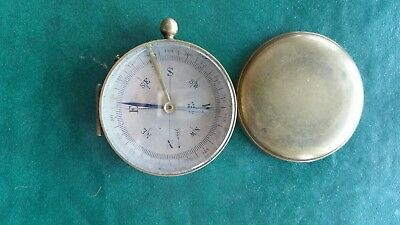 Antique Vintage Brass Compass Made in France With Cover Works