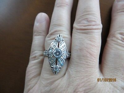 Vintage Antique Style CZ. White Stones Engagement Marquise 925 Sterling ring s.6