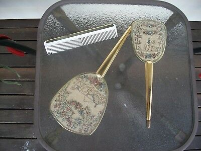 VINTAGE VANITY BRUSH AND HAND HELD MIRROR and comb tapestry design