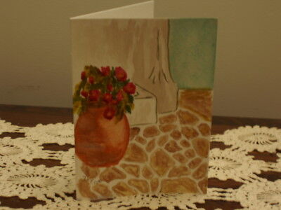 Hand painted blank greeting card greek vase