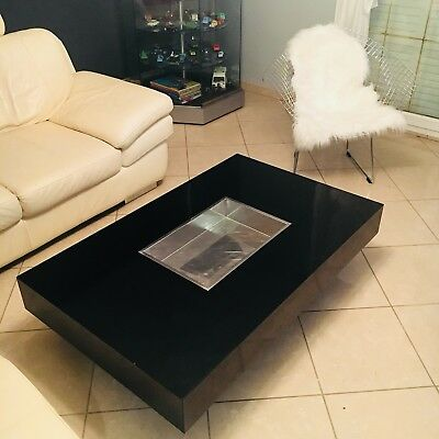 Table Basse Bar Willy Rizzo Noire Vintage Seventies