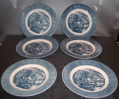 """Vintage Currier and Ives Dinner Plates 10"""" Mint - Royal China Green Mark"""