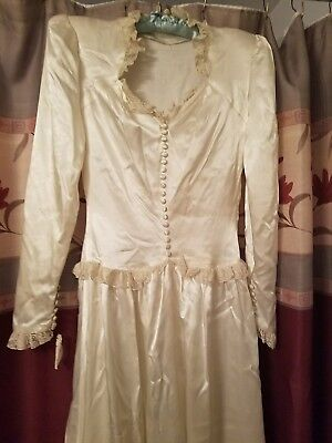XS Petite 1940s Satin And Lace Wedding Dress R S STEARNS Boston Vintage w/ Train