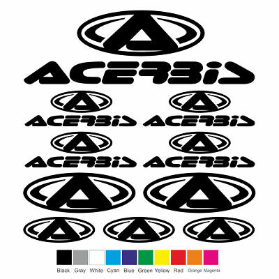 ACERBIS Vinyl Decal Sheet Sticker Motorcycle Graphic Set Logo Adhesive Kit 10Pcs