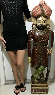 """Vtg RARE Carved Wood Painted Royal Indian Asian Palace Guard Statue 46"""""""