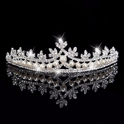 Wedding Bridal Prom Pageant Rhinestone Cz Pearl Tiara