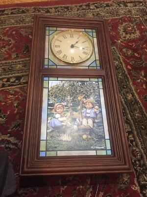 Beautiful Stain Glass Hummel Wall Clock,lights,works great,vg!