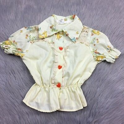Vintage Toddletime Toddler Girls Yellow Fawn Deer Button Up Shirt Lace