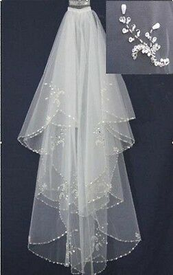 """2 Tier Layer White Or Ivory Wedding Bridal Veil- Sequins-Faux Pearls 24""""-33"""""""