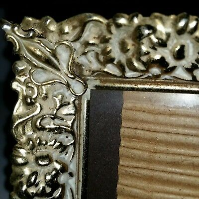 Vintage 5 X 7 Ornate Gold Tone White Wash Filigree Metal Picture Photo Frame