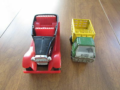 Vintage Marx Plastic And Pressed Steel Mixed Lot Of 2 Stake Truck Hot Rod Jmsr21