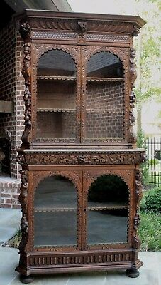 Antique French Oak Renaissance Revival Bookcase Display Cabinet Cherubs Lions