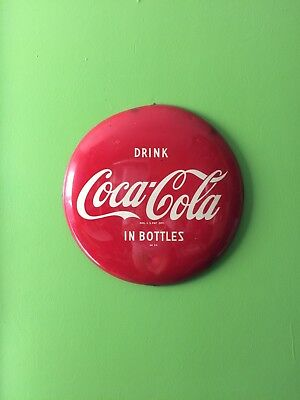 "Vintage 1950""s original coco cola Am24 16"" rare size curved button sign"