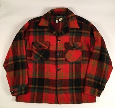 Vintage Bellaire Wool Mohair Plaid Hunting Shirt JACKET CPO LARGE RED TARTAN