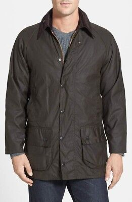 New Barbour Mens Classic Beaufort Field Jacket Waxed Cotton Green 38 Small