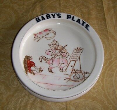 Antique CARLTON WARE Baby Plate HEY DIDDLE DIDDLE