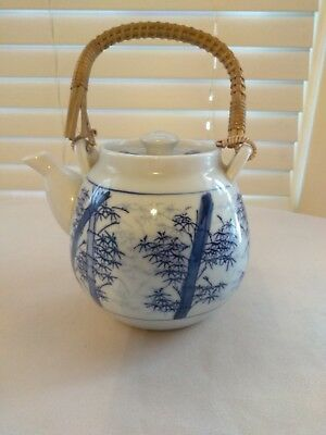 Vintage Chinese Teapot Blue and White Bamboo Design Wood Handle