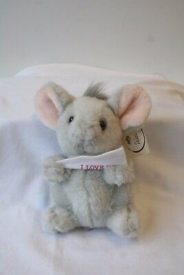 Vintage Plush Mouse Caress Soft Pets I Love You Stuffed Animal by RUSS no. 717
