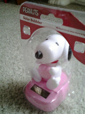 "SNOOPY & HEART ""LOVE"" HAPPY VALENTINES DAY PINK SOLAR BOBBLER very hard 2 find!!"