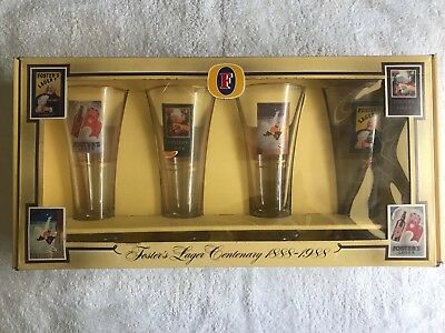 Fosters Lager 100 Year Centenary Collectable Rare Beer Glasses Man Cave In Box