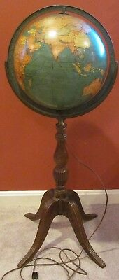 Pre- WWII 12 Inch Library Globe by Replogle Globes, Inc. of Chicago- Lights Up