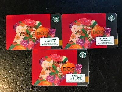 2018 Lot Of 3 YEAR OF THE DOG Chinese New Year Starbucks Gift Cards