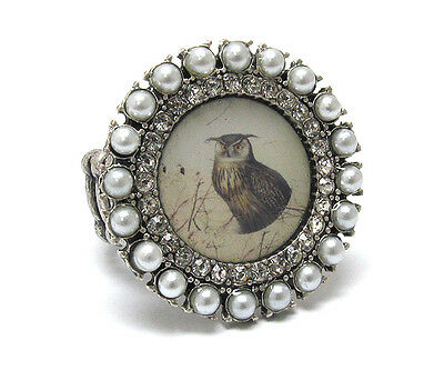 Owl Ring Crystal Rhinestones Pearl Vintage Painting Stretch Ring Grey One Size