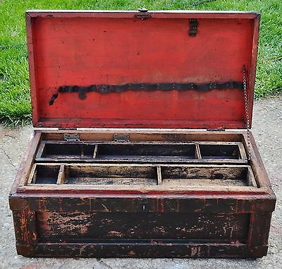 """Antique Wooden Carpenters Tool Chest-Cast Iron Handles-Initialed 35.5"""""""