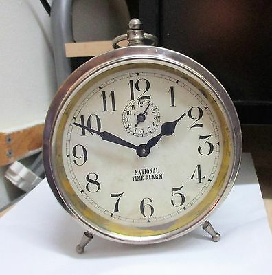 "Ingraham ""national Time ""  Alarm Clock   Runnning   Collectible/antique"