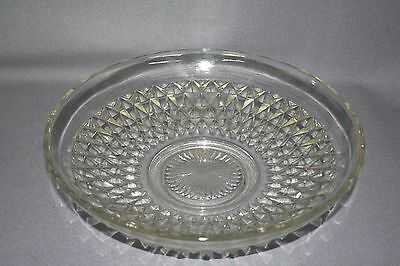"""VTG Indiana Glass Clear Crystal Diamond Point 13 1/2"""" Center Console Bowl"""