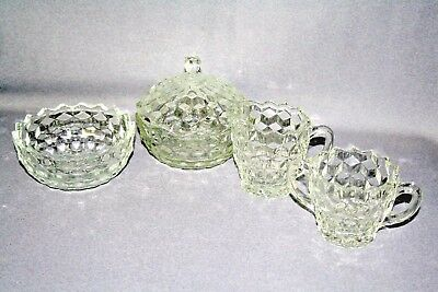 VTG 5 PC Colony Whitehall Clear CREAMER , SUGAR, BOWL AND CANDY DISH.