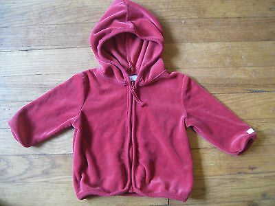 Baby Infant Girls Red Velour Hooded Christmas Holiday Zip Sweatshirt 3/6 months!