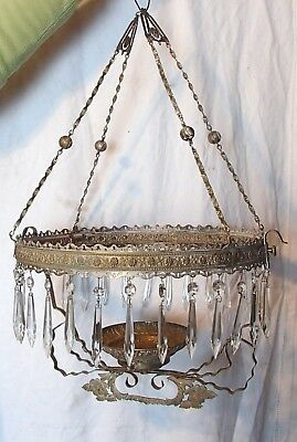 Antique Brass And Crystal Chandelier Very  Early Candle Lit Great Restoration