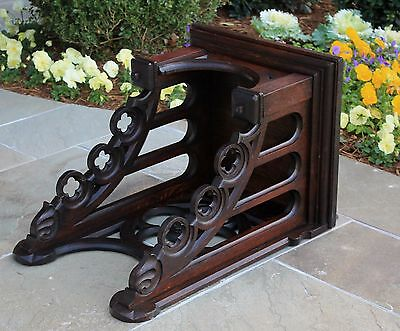 Antique French GOTHIC Carved Oak Hanging Wall Shelf Clock Shelf Bronze Display