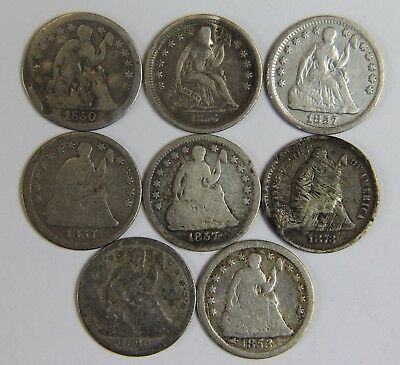 8x Seated Liberty 90% Silver Half Dime Lot 10c Old US Coins NR Free Ship U014