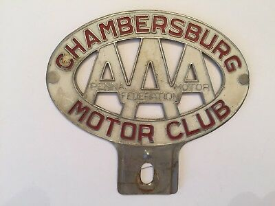 AAA Motor Club of Chambersburg PA - Penna Motor Federation - Porcelain badge