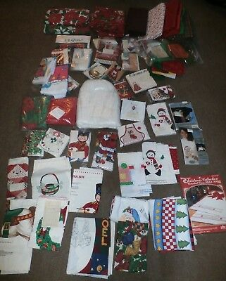 VINTAGE 21lb LOT CHRISTMAS CRAFT FABRIC, YARDAGE - CUT-OUTS - TABLECLOTHS