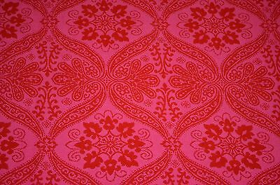 Vintage Mid Century Hollywood Regency Full Queen Bedspread Pink Red Woven Retro