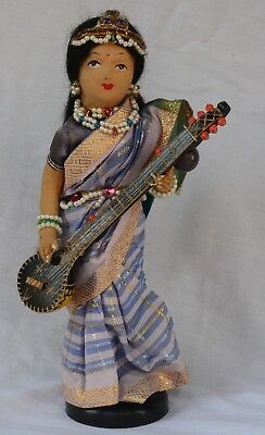 """India Handmade 10"""" Doll with Stand - Beautiful Silk Clothing , Beads, Jewels"""