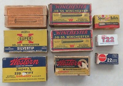 Lot of 9 Vintage Ammo Boxes / Winchester 38-55, Western 220 Swift, Peters 22 ETC
