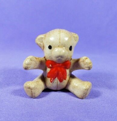 Tiny Vintage Teddy Bear with Red Bow Figurine Porcelain Miniature Small Brown