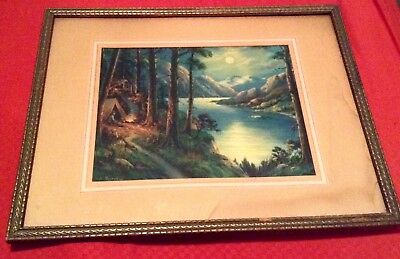 Antique Vintage Old Boy Scout Scouting Print Framed Will Thompson Camping Woods