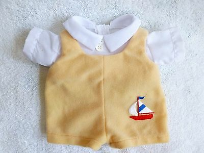 """CPK CABBAGE PATCH KIDS Boy's Yellow Velour Overall & White Shirt ~ 10"""" doll"""