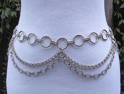 """Silver Tone Metal Double Swag & Circle Chain Belt  45"""" long"""