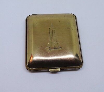 Vintage compact art deco Empire State Building New York City red garnets antique