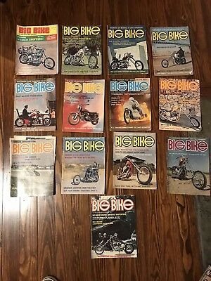 13 Vintage Antique Big Bike Magazine Collection From 1969-74 Custom Motorcycle